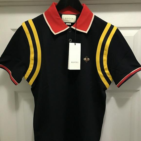 95503e48 Gucci Shirts | Mens Gg Pique Bee Logo Polo | Poshmark
